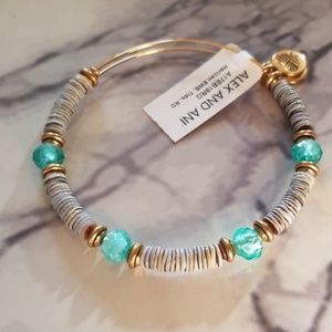 Alex and Ani horizon beaded bangle in tide color.